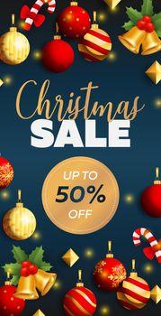 Christmas Sale flyer design with balls