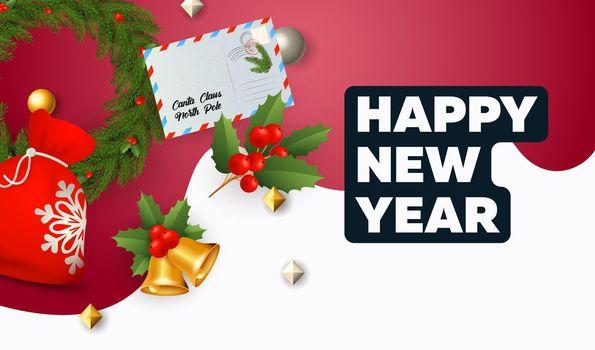 Happy New Year lettering, gifts sack, envelope, bells, mistletoe
