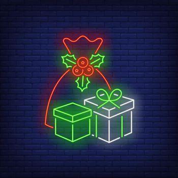Christmas presents neon sign
