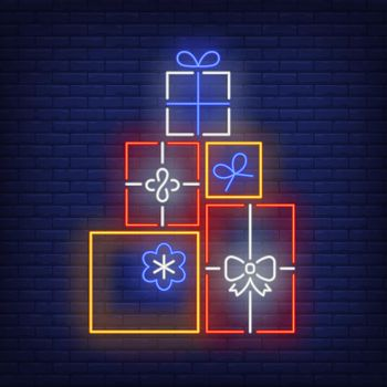 Pile of gifts neon sign