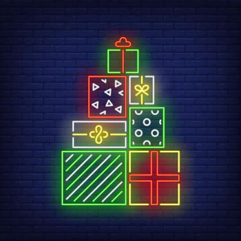 Pile of presents neon sign