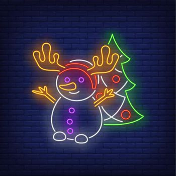 Snowman wearing antlers and decorated fir-tree neon sign