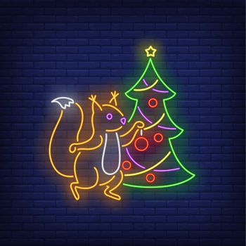 Squirrel decorating fir-tree neon sign