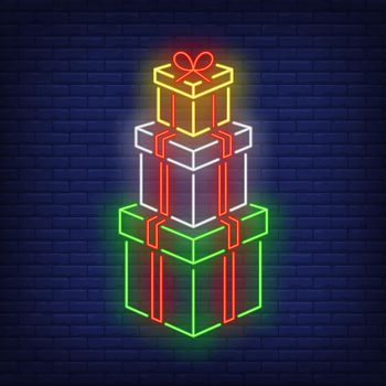 Stack of gifts neon sign