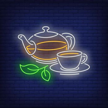 Teapot and cup neon sign