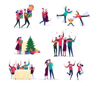 Set of families celebrating New Year