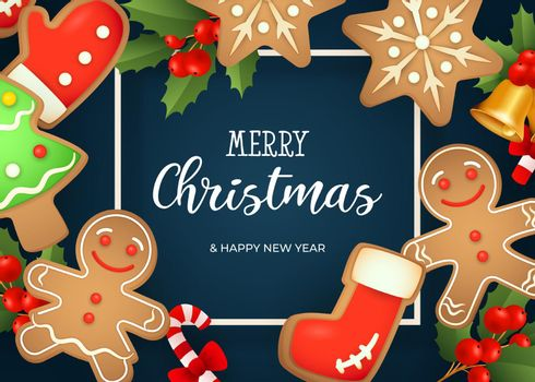 Merry Christmas lettering, gingerbread cookies, mistletoe