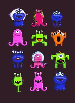 Alien cartoon characters set illustration