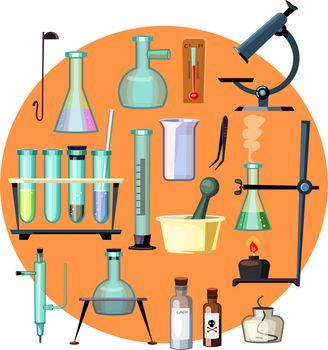 Laboratory equipment set illustration