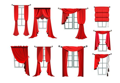 Set of various red curtains