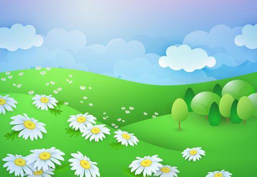 Summer daisy field