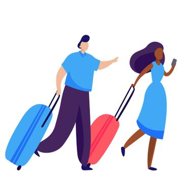Couple of passenger wheeling suitcases