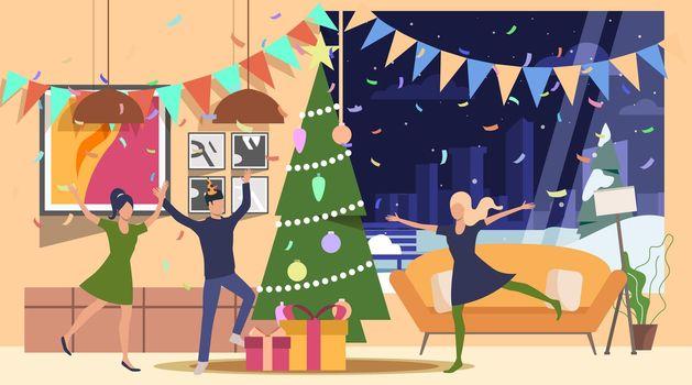 Friends celebrating New Year illustration