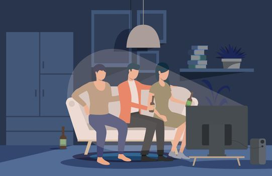 Friends watching movie at home landing page