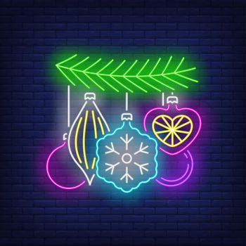 Baubles on fir tree twig neon sign