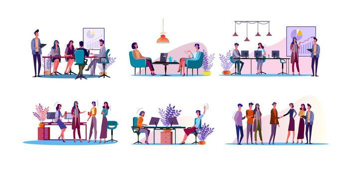Corporate discussion illustration set
