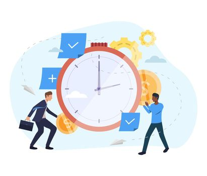 People investing money in watch illustration