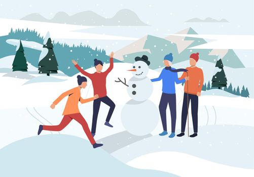 People making snowman landing page