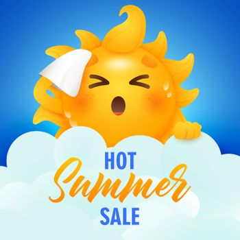 Hot summer sale lettering and sun cartoon character