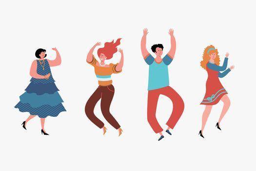 Happy people dancing set.
