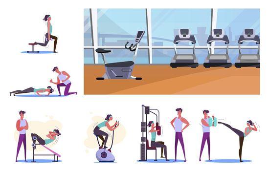 Set of sportsmen training at gym
