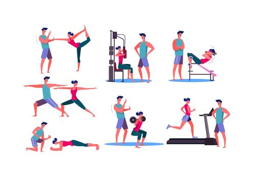 Set of sporty woman training at gym