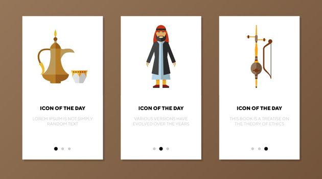 Arabic traditional objects icon set