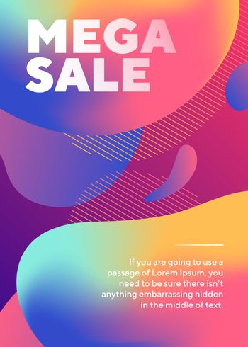 Mega sale lettering with abstract fluid shapes