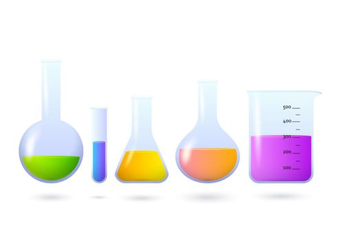 Beakers and flasks with chemical set