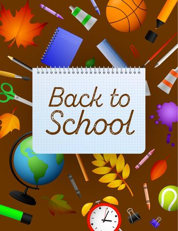 Back to school lettering on copybook paper sheet, pencils