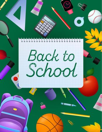 Back to school lettering on copybook paper sheet