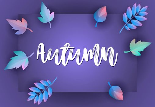 Autumn greeting card design with violet background