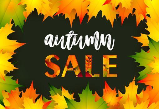 Autumn sale black retail banner design