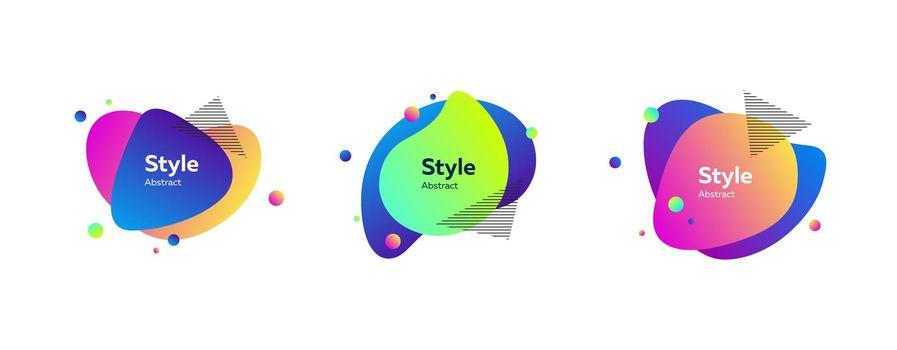 Vibrant colorful liquid graphic elements with text