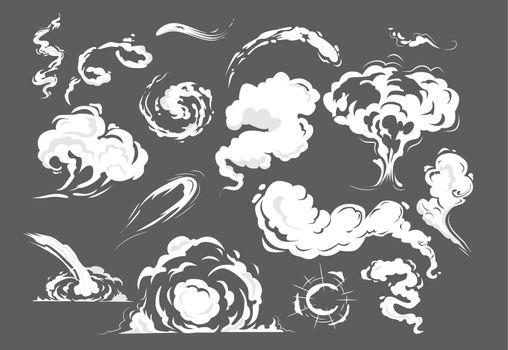 Comic smoke puffs set