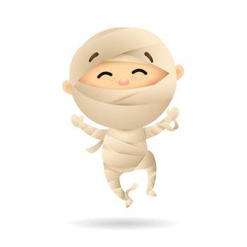 Happy little boy in mummy costume