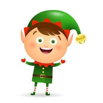 Happy Christmas elf wearing green costume cartoon illustration
