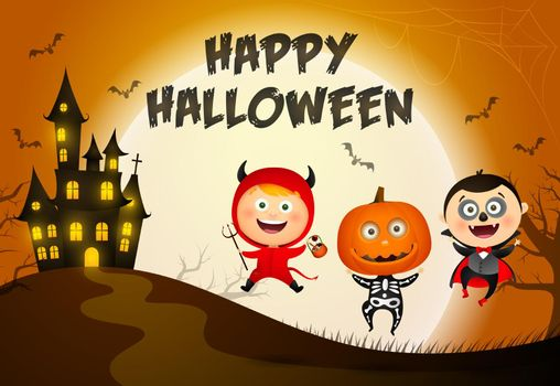 Happy Halloween lettering, castle and kids in monsters costumes