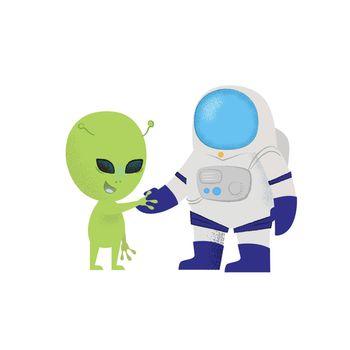 Cosmonaut shaking hand of alien