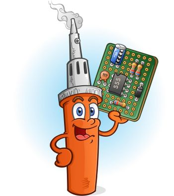 Soldering Iron Cartoon Character with Circuit Board PCB