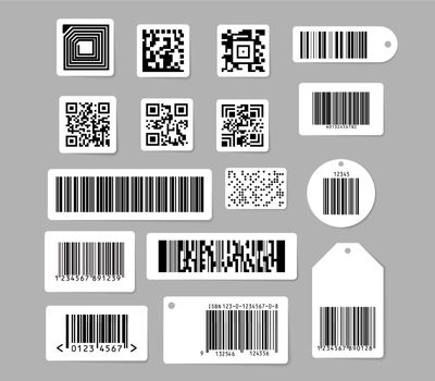 Barcode and QR code vector illustrations set