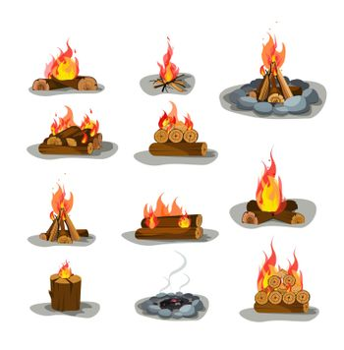 Bonfire vector illustrations set