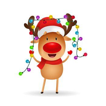 Cheerful reindeer celebrating Christmas