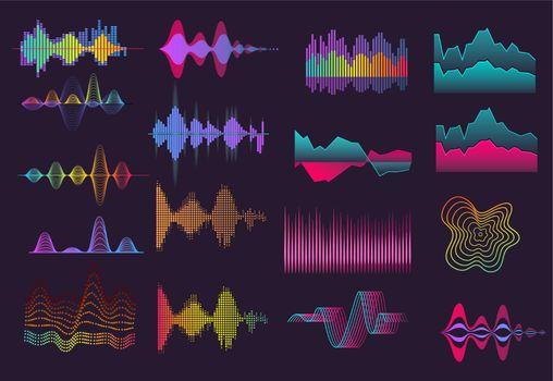 Colorful sound wave set