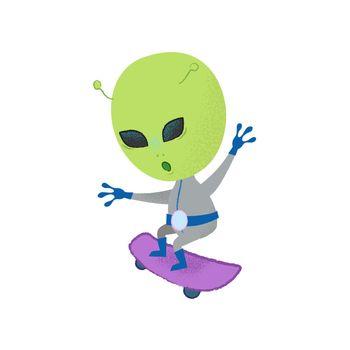 Funny alien skateboarding