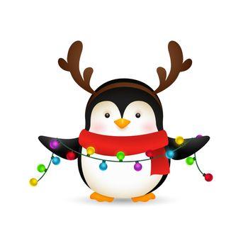 Cute penguin celebrating Christmas