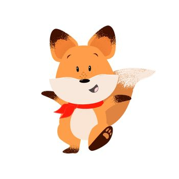 Happy fox outstretching hands while walking