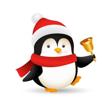 Funny baby penguin ringing bell