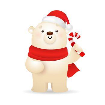 Funny polar bear wishing Merry Christmas