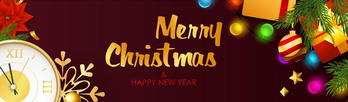 Merry Christmas and Happy New Year design with light bulbs